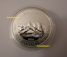 "Canada 8 $ Wildlife 2013 ""Polarbär"" 1,5 Oz 999,9 Silber in Kapsel"