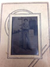 Antique Early 1900's Photo US Sailor Navy Uniform Big Ship In Background Titanic