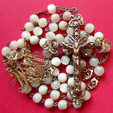 SUPERB SILVER FILIGREE ROSARY 59 PEARL BEADS OLD SPANISH RELIGIOUS NECKLACE