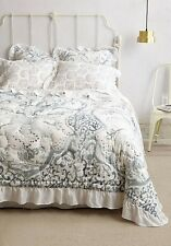 Anthropologie Reversible Tindari King Quilt Grey Motif With 1 Standard Sham