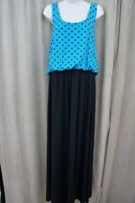 Planet Gold Juniors Dress Sz XL Blue Atoll Black Polka Dot Maxi Sleeveless Dress