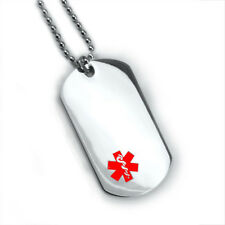 Double side Medical Alert ID Dog Tag. Free Wallet Card! Free engraving! 12 lines