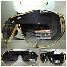 HUGE LARGE L XL OVERSIZE VINTAGE RETRO SHIELD Style SUN GLASSES Gold Metal Frame