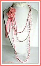 "VERY LONG 50"" CLASSIC SILVER & PINK RIBBON FLOWER & SPHERE STATEMENT NECKLACE."