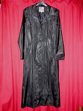 shiny black long womans raincoat squeals when rubbed 42 chest Long LOOK