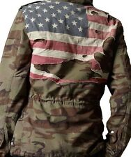 NWT Vintage Ralph Lauren Denim & Supply Men's Camo Army USA Flag Jacket Small