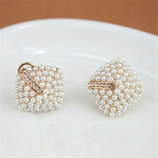 NEW Fashion Korean OL Style Women Stud Earrings Pearl Rhombus Crystal Rhinestone