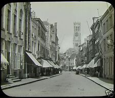 Glass Magic Lantern Slide STREET IN BRUGES C1890 PHOTO BELGIUM VICTORIAN