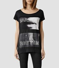 All Saints dissonanza TEE T-shirt girocollo Lavato Nero Taglie XS 4/6/8 RRP £ 40