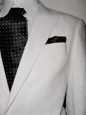 ENZO 2B NOTCH MENS SUIT WHITE LINEN 38R 38 R FREE FAST SHIP & TIE SET