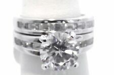 Wedding Ring Set Bridal Engagement Stainless Steel Rhodium 6.00 Ct CZ Size 8 I10