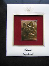 CIRCUS ELEPHANT 22kt Gold Stamp replica FDI FDC Golden Cover