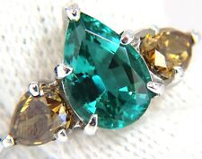$7500 2.30ct natural emerald fancy color diamonds three stone ring 14kt. vs a+