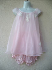 Vintage BABYDOLL NIGHTGOWN & PANTIES Set Nylon Chiffon Sheer PINK Shortuie B 40""