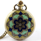 Charm Colorful Flower Icon Crystal Pocket Watch Necklace Chain Women Gifts P52