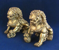 "Pair 6"" Feng Shui Fierce Chinese Brass Fu Foo Dogs Lion Protectors"