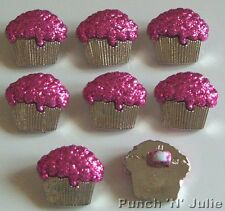 SILVER & Hot Rosa Glitter Cupcake Fata Torta Novità Dress IT UP Pulsanti Craft