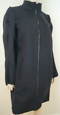 MARNI Midnight Navy Black 100% Virgin Wool Raw Edges Zip Front Coat IT40 UK10
