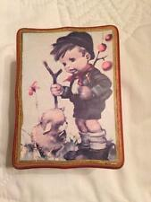 WOODEN HUMMEL MUSIC BOX WITH  LITTLE BOY & LAMB MADE IN JAPAN