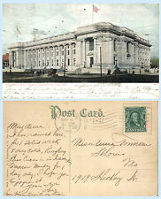 Federal Building Indianapolis Indiana 1908 Postcard - Horse & Carriage