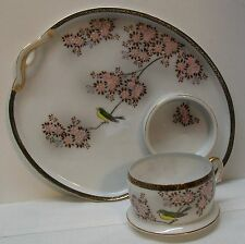 Vintage Kutani Ohno Hand Painted Teacup and Cup Holder Plate with Bird Flowers