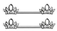 Nipple Bar  Tiara Crown Sparkle Barbell Ring Sold as pair