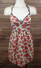 Hollister Womens Red White Floral Halter Dress SZ M Medium Inner Lining