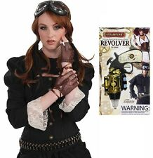 VICTORIAN CYBER STEAMPUNK FINGERLESS GLOVES GOGGLES AND REVOLVER SET FANCY DRESS