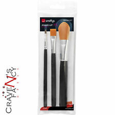 Smiffys Face Paint FX PREMIUM Brushes 3 Styles Make Up Cosmetic Set Fancy Dress