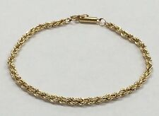 "14K YELLOW GOLD 3mm Rope 7"" Chain Bracelet GREAT for GIFT!"