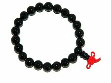 B-0019 -  Beautiful Black Agate Gemstone Mala Bracelet Handmade - 5.5cm Diameter
