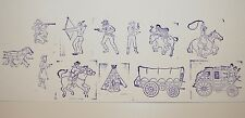 Lot of 12-Vintage Western Rubber Stamps Wagon, Indian, Cowboy, Cowgirl, more...