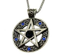 New Nordic Lights Celtic Pentagram Circle Star Pendant Necklace Pewter Blue Crys