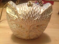 NWT TIMMY WOODS CAT KITTY ACACIA WOOD BAG PURSE $250