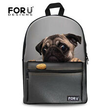 Ladies Girls Pug Dog Canvas Backpack Rucksack School bags College Shoulder Bag