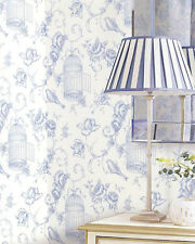 Classic Bird Birdcage Floral Blue White Cottage Chic Modern Designer Wallpaper