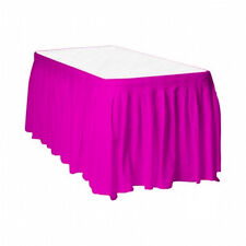 "2 Plastic Table Skirts 13' X 29"" Streches-19' - Hot Pink"