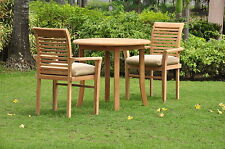"""Sam Grade-A Teak Wood 3 pc Dining 36"""" Round Table Arm Stacking Chair Outdoor Set"""
