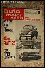 AMS Auto Motor Sport 9/67 VW Käfer Oettinger Fiat 125 Opel Commodore
