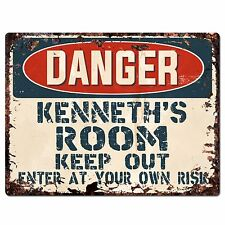 PPD0017 DANGER KENNETH'S ROOM Keep Out Rustic Chic Sign Home Decor Birthday Gift