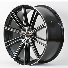 4 GWG Wheels 18 inch Black Machined FLOW Rims fits SAAB 9-3 AERO 2004-2011