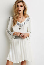 Forever 21  White Boho  Embroidered Gauze Peasant Dress Small S