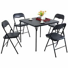 5PCS Folding Dining Table and 4 Folding Chairs Black Family Party Kitchen Set
