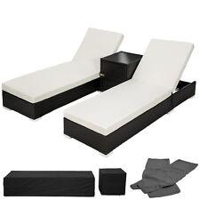 2x Chaise longue bain de soleil + table ALU poly rotin transat de jardin noir