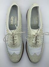 FOOTJOY Classics Tan & White Leather WingTip Lace-Up Oxford Golf Shoes 7.5A USA!