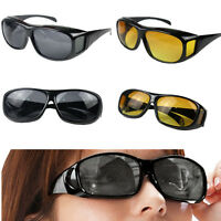 Fashion Cool Night Vision Unisex Glasses HD Driving Sunglasses Over Wrap Around