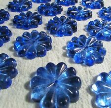 Lot 19 Cobalt Blue Crystal Prism Flower Rosettes / Lamp Chandelier Restoration