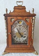 Warmink Mantel Shelf Clock Dutch 60s Oak Moon Phase 8 Day Strikes 2 Bells Big