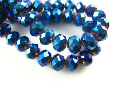 100pcs 6x4mm Metal Blue Color Faceted Glass Crystal Charms Rondelle Loose Beads