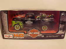 1948 Ford F-1 Pickup Truck Diecast 1:24 Harley Davidson 8inch Black Green Flames